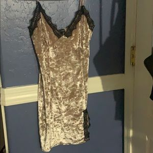 Crushed Velvet Lace Dress